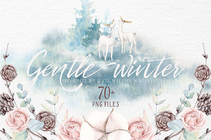 Gentle Winter Watercolor Collection includes floral elements, wreaths, seamless patterns and more.  A roundup of Christmas and holiday graphics for your holiday blog posts and social media posts!