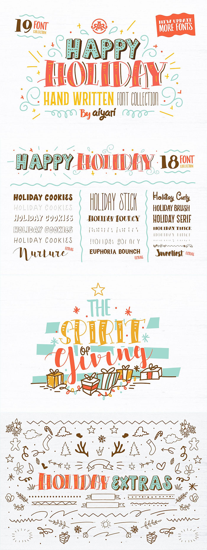 Happy Holidays 17+ font bundle and extras. A roundup of Christmas and holiday graphics and fonts for your holiday blog posts and social media posts!