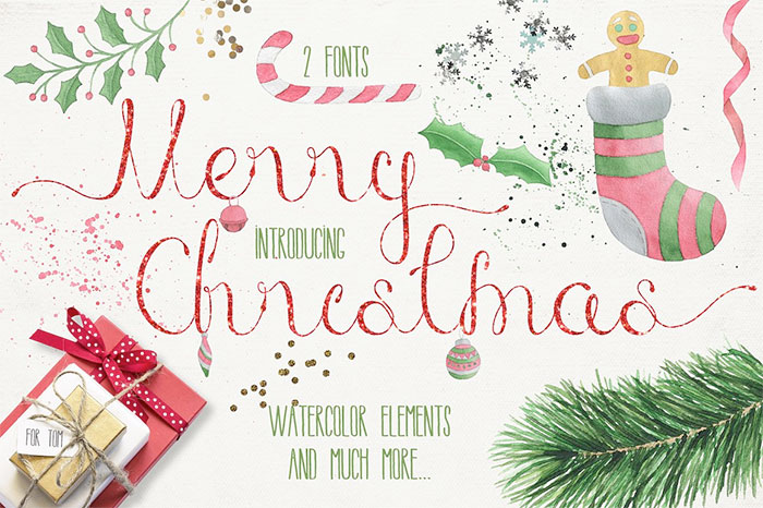 Merry Christmas 2 fonts + Free Watercolor Goods and A roundup of Christmas and holiday graphics and fonts for your holiday blog posts and social media posts!