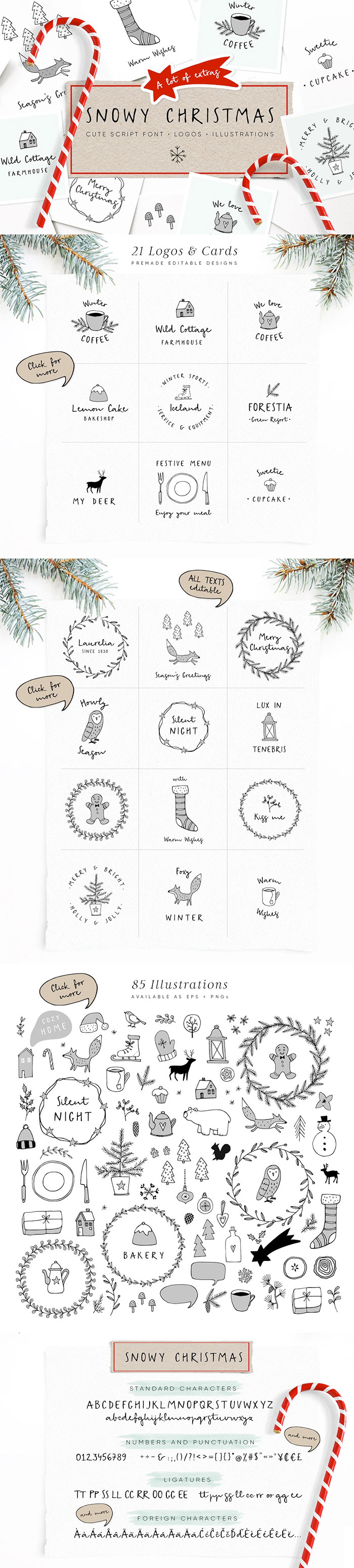 Snowy Christmas script font & logos - a cute script font with a bunch of winter inspired vector illustrations and pre-designed logos and greeting cards.A roundup of Christmas and holiday graphics and fonts for your holiday blog posts and social media posts!
