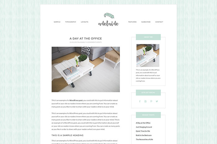 Adelaide WordPress theme by Ana Quezada