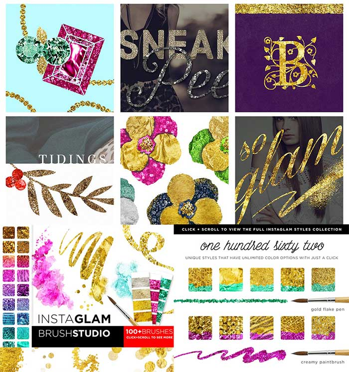 InstaGlam PSD System: Glam+Gold Foil. Get it as part of the Amazing design bundle with 1000's of items for just $29!!