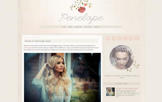Penelope Blogger template using the watercolor trend. See more watercolor themes and templates at DesignYourOwnBlog.com