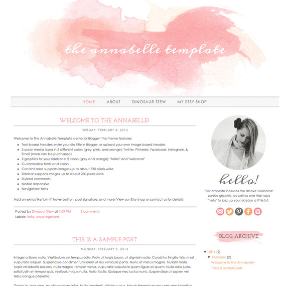Annabelle Blogger template. See more watercolor themes and templates at DesignYourOwnBlog.com