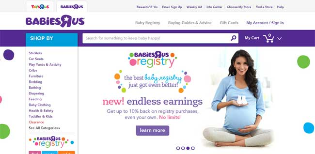 Babies R Us uses bright purple to emphasize it's children's products