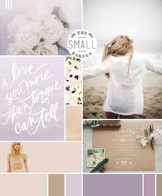 Mood board by imbreannarose.com shows how purple can liven up a neutral palette