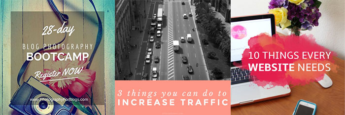 Use an overlay beneath blog post titles. From 10 Sure Fire Ways to Create Attention-Grabbing Images for Pinterest to Increase Traffic on DesignYourOwnBlog.com