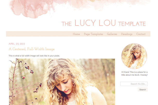 Lucy Lou, a watercolor WordPress theme. See more watercolor themes and templates at DesignYourOwnBlog.com