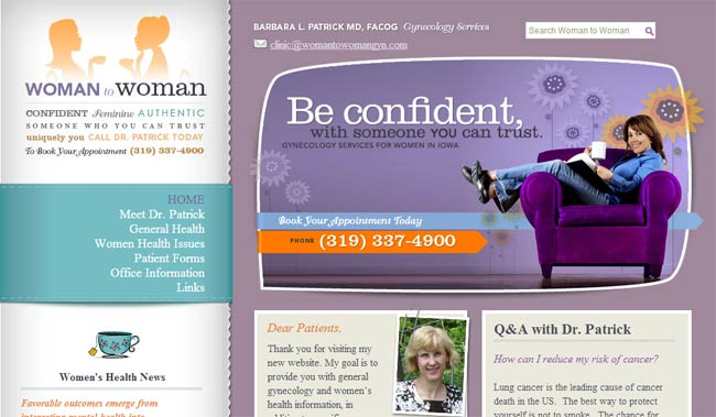 The orange in womantowomangyn.com brings energy to the serene purple and blue palette