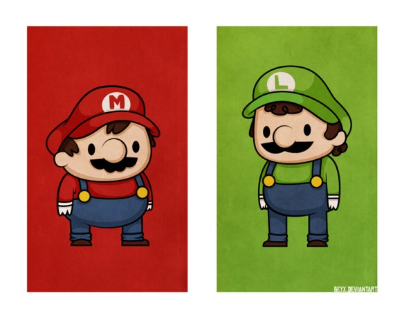 becky beyx videogame illustrations super mario brothers luigi Button Eyed Characters