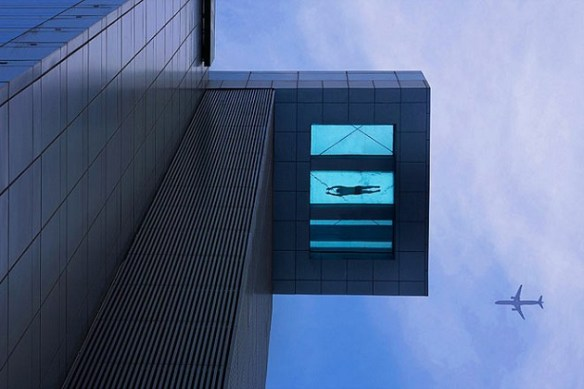 24th Story Glass Bottom Swimming Pool at Holiday Inn Shanghai China Holiday Inn 24th Story Glass Bottom Swimming Pool