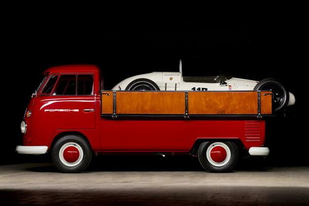 VW Vintage VW Pick Up Truck Paired With Porsche Track Car