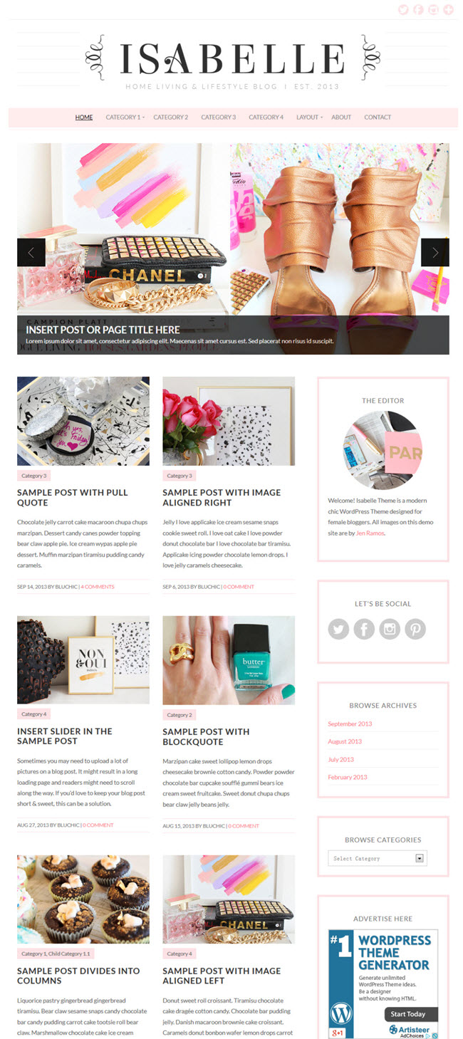 isabelle screenshot Best Stylish & Feminine WordPress Themes for Women