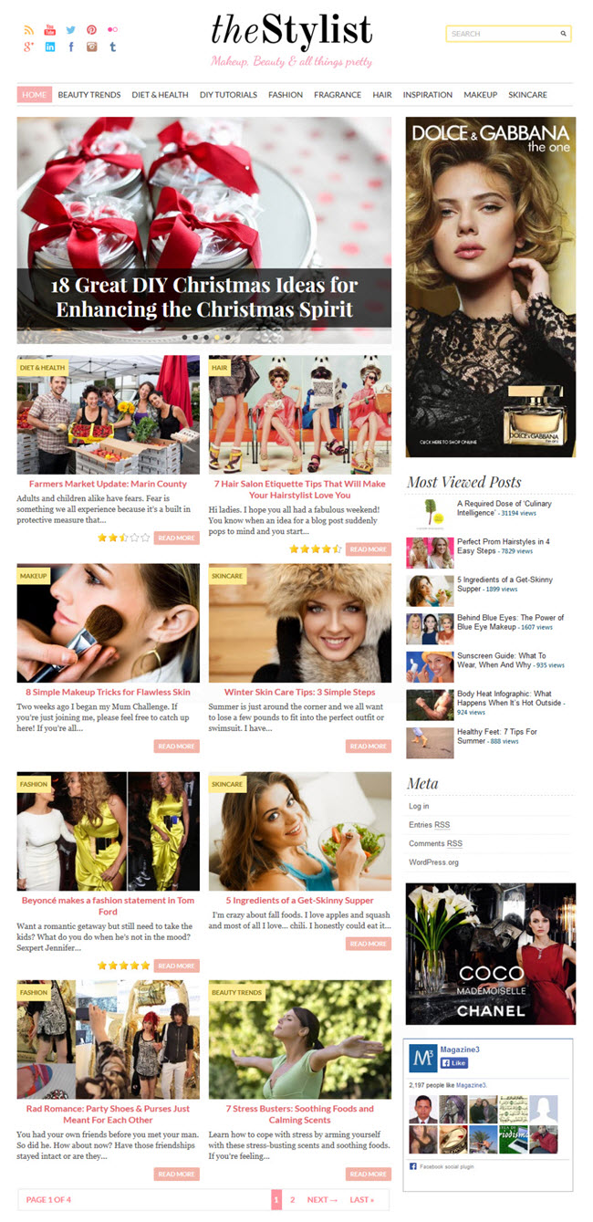 thestylist screenshot Best Stylish & Feminine WordPress Themes for Women