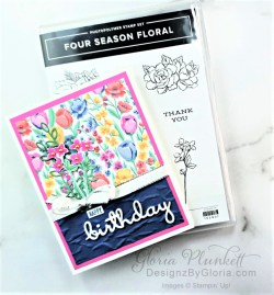 """four season floral stamp set, flowers for every season dsp, vellum cardstock, slimline, tall, apple builder punch, autumn eaves punch pack, plaid tidings designer series paper, stitched rectangle dies, ornate thanks stamp set, hammered metal 3d embossing folder, poppy moments dies, jar of flowers stamp set, layering square dies, Playful alphabet dies, gather together stamp set, pet dies, whale builder punch, playful pets designer series paper, whale of a time dsp, 3/8"""" sheer ribbon, whale of a time sequins, Gold hoop embellishments, free as a bird stamp set, magenta madness cardstock, cinnamon cider cardstock, just jade cardstock, magenta madness cardstock, jar punch, ornate garden specialty designer series paper, itty bitty greetings, pear pizzazz cardstock, seaside spray cardstock, pressed petals specialty designer series paper, botanical prints product medley, detailed band dies, ornate layers dies, Ornate style stamp set, ornate garden specialty designer series paper, ornate layers dies, grapefruit grove cardstock, gold glitter enamel dots, coastal weave 3d embossing folder, basket weave embossing folder, a wish for everything stamp set, word wishes dies, ornate layers dies, ornate floral 3d embossing folder, ornate garden ribbon, ornate garden specialty designer series paper, best dressed 6"""" x 6"""" dsp, pear pizzazz classic ink, sponge daubers, peaceful moments stamp set, subtles embossing folder, rectangle stitched dies, saddle brown stazon ink, blushing bride cardstock, from my heart faceted gems, pear pizzazz classic ink, pleased as punch designer series paper, granny apple green cardstock, basic black cardstock, gorgeous grape cardstock, rococo rose light and dark stampin' blends, granny apple green dark and light stampin' blends, watercolor pencils, blender pen, petal pink cardstock, stitched so sweetly dies, rectangle stitched framelits, 5/8"""" whisper white flax ribbon, real red rhinestones, silicone craft mat, white embossing powder, versamark ink pad, heat"""
