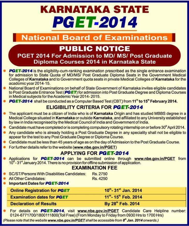 Karnataka PGET 2014