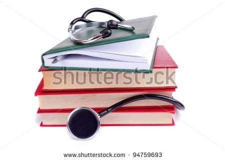 medical books & stethoscope