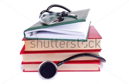 medical books and stethoscope