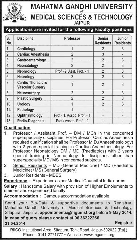 Mahatma Gandhi University of Medical Science and Technology Job Advertisement