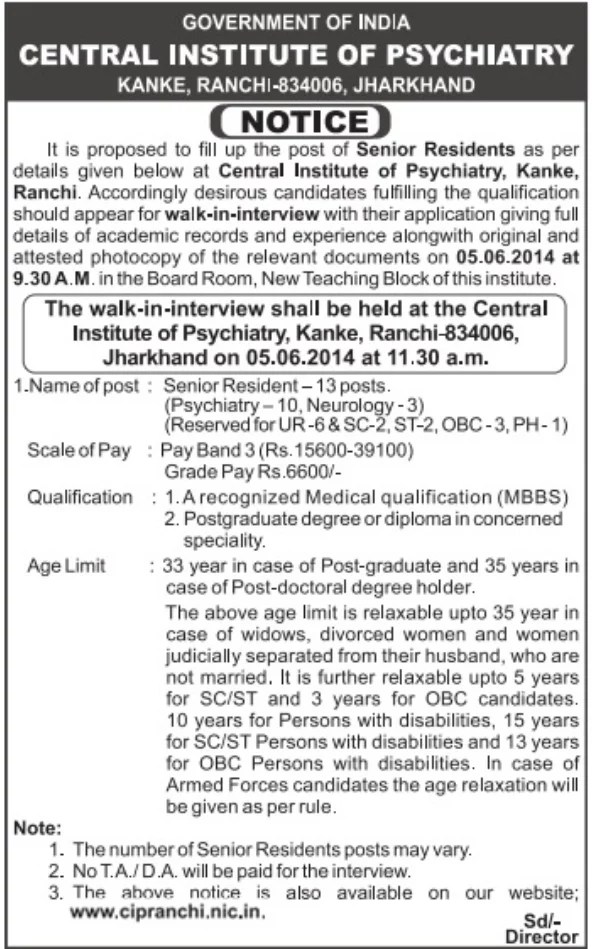 Central Institute of Psychiatry - Senior Residents Posts
