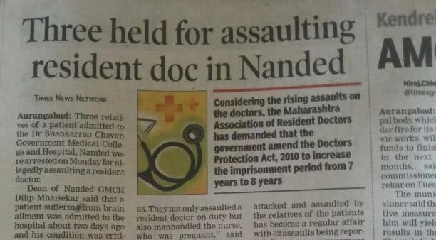 3 Patient Relatives held for assaulting Resident Doctor in Nanded