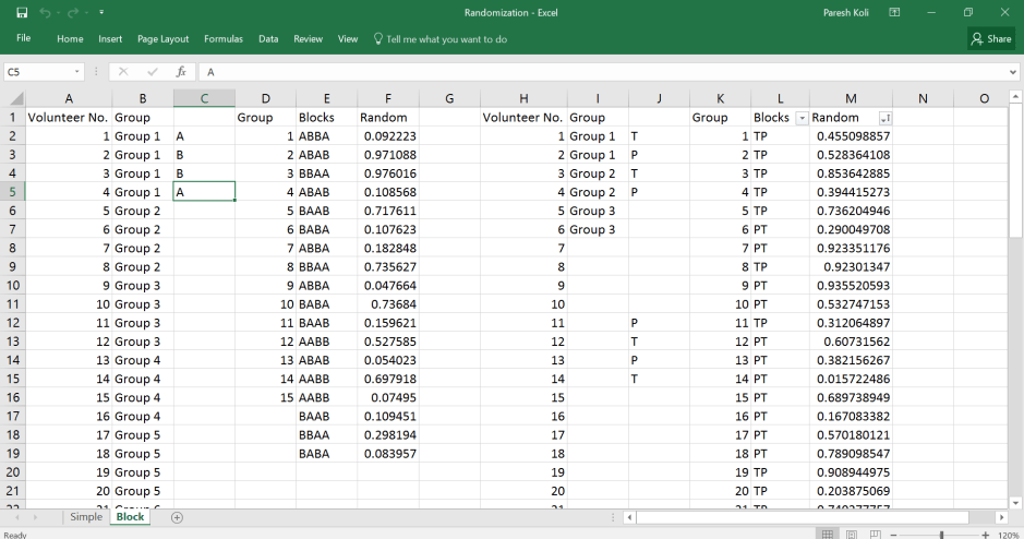 Block Randomization in Microsoft Excel