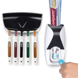Wikor Toothbrush Holder Automatic Toothpaste Dispenser Set Dustproof with Super Sticky Suction Pad Wall Mounted Kids Hands-Free Toothpaste Squeezer for Family Washroom bathroom