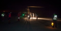 One hundred and fifty people, including forty children, are evacuated to the port of Garachico by helicopter after collapsing a road in the village of Teno and be isolated in the north of the Canary Island of Tenerife, 12 July 2016.