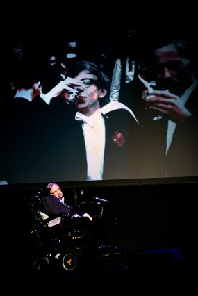 """British theoretical physicist professor Stephen Hawking gives a lecture entitled: """"A Brief History of Mine"""" during the Festival Starmus Festival on the Spanish Canary island of Tenerife on June 29, 2016. At this point he talks about his years as a student at the University of Oxford. At the end of the Festival Starmus a medal will be awarded to Stephen Hawking, the new award for science communication is in honour of Professor Stephen Hawking and recognises the work of those helping to promote public awareness of science through music, arts and cinema."""