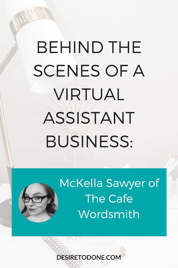 I decided to kick off the Behind the Scenes of a Virtual Assistant Business interview series by interviewing my own VA, McKella Sawyer of The Cafe Wordsmith. McKella is a content ninja and helps me with tasks in both my business and my clients' businesses. Check out her interview and learn her favorite tricks and tools for running a smooth business.