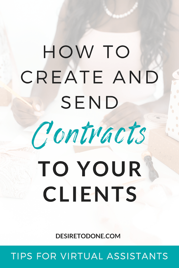 No need to stress about what to put in your virtual assistant contract and how to send it! This post covers step-by-step what to do!  #virtualassistant #workfromhome