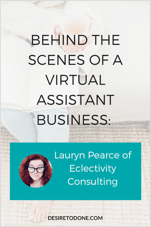I interviewed Lauryn Pearce of Eclectivity Colsulting, a virtual assistant to loves helping entrepreneurs fulfill their dreams. Learn how she got started, her favorite tools, and see the beautiful logo she created! #virtualassistant #entrepreneurinterview #workfromhome