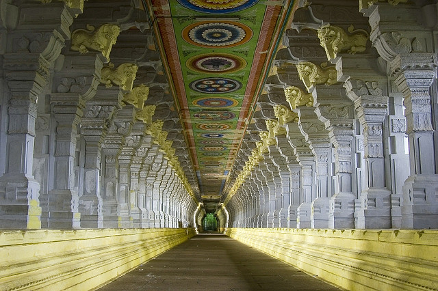 Corridor of Ramnathswamy temple Rameshwaram Tamil Nadu