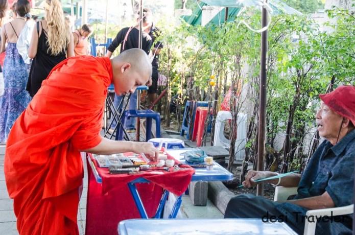 A monk in street market Bangkok