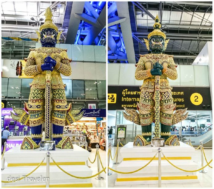demons sculptures on Suvarnabhumi airport