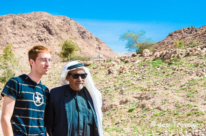 Feynan Eco Lodge  Bedouin elder with Fabio Nodari Italian photographer