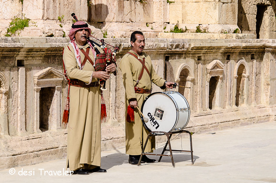 Bedouin men playing bagpiper and drum in Jerash