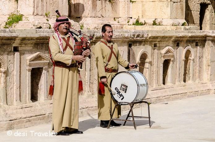 Bedouin men playing bagpiper and drums in Jerash Jordan