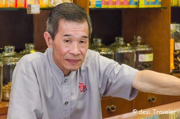 Chinese medicine seller Singapore China town