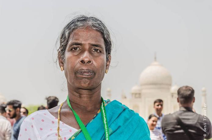 Old woman in front of Taj Mahal Agra
