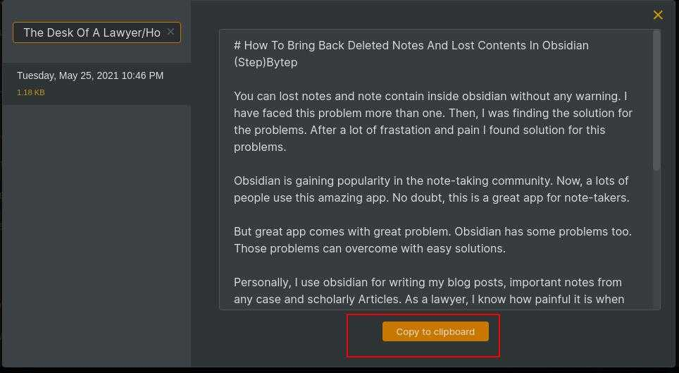 Recover Content in Obsidian Copy To clipboard