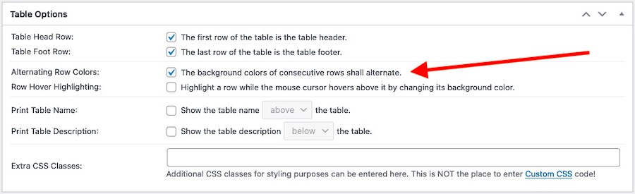Table Options panel emphasising the Alternating Row Background Colours-enable option