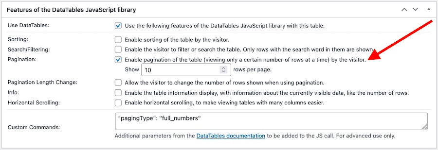 Settings panel for the DataTables JavaScript library features emphasising the Pagination-enable option
