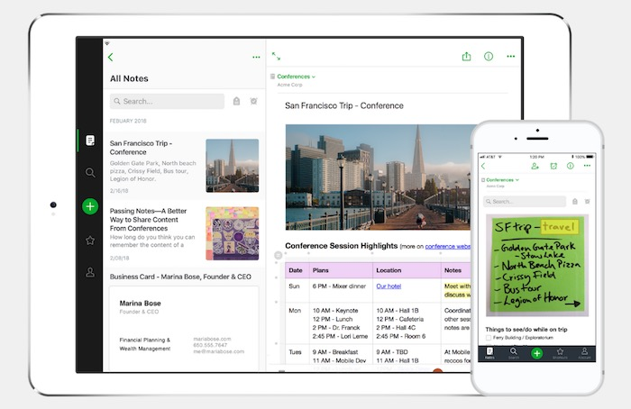 Tablet and mobile phone with Evernote running