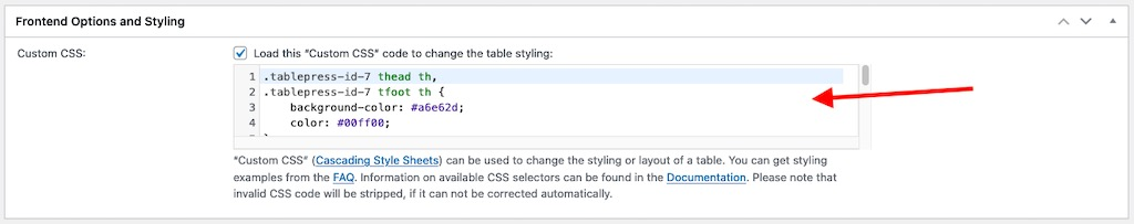 Frontend Options and Styling panel in the TablePress Plugin Options tab