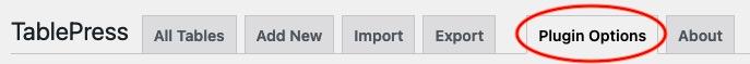Plugin options tab in TablePress