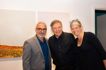 Stan Strembicki, center, with Carmon Colangelo, Dean of the Sam Fox School of Design & Visual Arts, and Alumna Courteney Coolidge at the Stan Strembicki & Alumni Art Show Opening Reception, Des Lee Gallery, St. Louis, MO