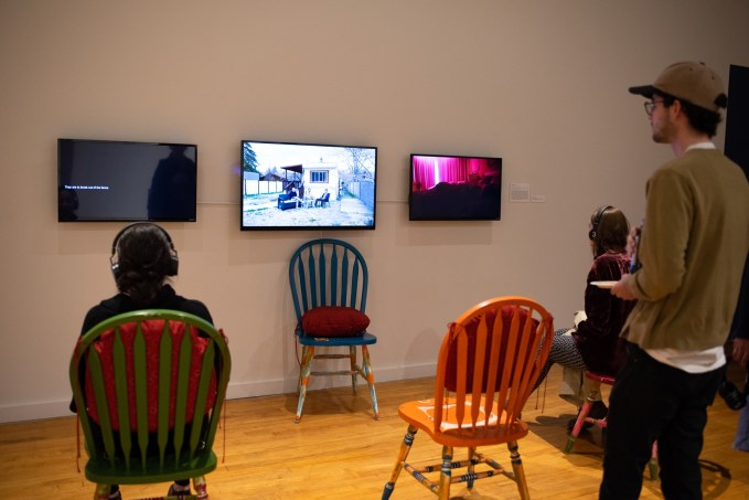 """""""Informative Feed for HD"""", """"Hallucination by Decadence: A Dream of Three Gluttonous Fiends"""", and """"Exposure to the Interior of HD"""" by Madeline Halpern on display at the BFA Show 2, Des Lee Gallery, Washington University, St. Louis, MO"""