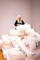 """Suzann Fulbright plays with """"Unblocked"""" by Grace Zajdel, BFA Show 2, Des Lee Gallery, Washington University, St. Louis, MO"""