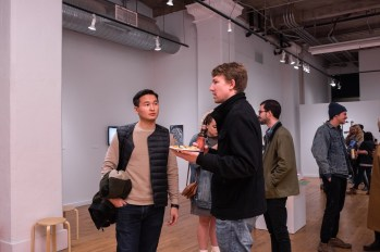 Takura Suzuki (l) talks with Ryan Erickson (r), Parabola: Extraterrestrial Exhibit Opening, Des Lee Gallery, Washington University, St. Louis, MO